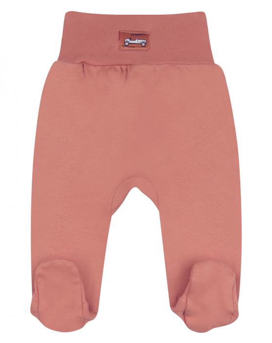 Pantalon tip pijama cu talpa, bumbac organic 100%, baieti, Caramiziu, Cars [0]