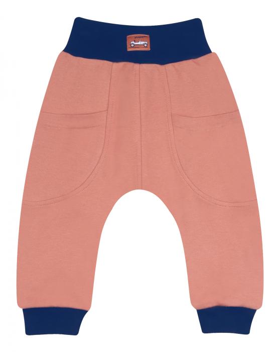 Pantalon lung, trening cu buzunare, dublat, bumbac organic 100%, baieti, Caramiziu, Cars 0