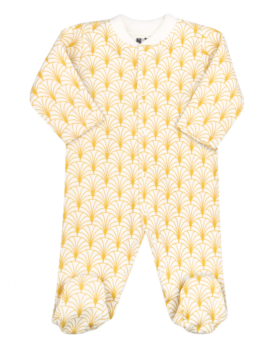 Pijama tip salopeta intreaga cu talpa, bumbac organic 100%, unisex, Alb/Galben 0