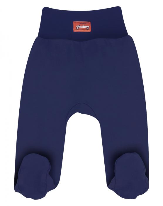 Pantalon tip pijama cu talpa, bumbac organic 100%, baieti, Bleumarin, Cars 0