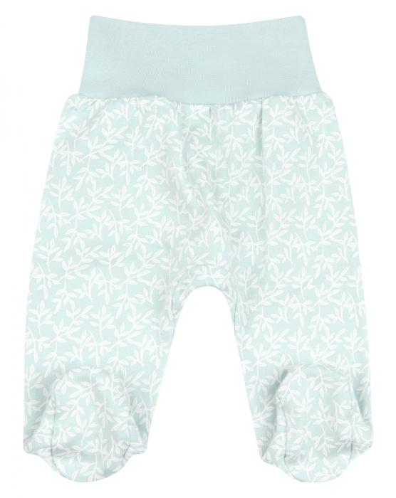 Pantalon cu talpa, bumbac organic 100%, fete, Verde/Alb [0]