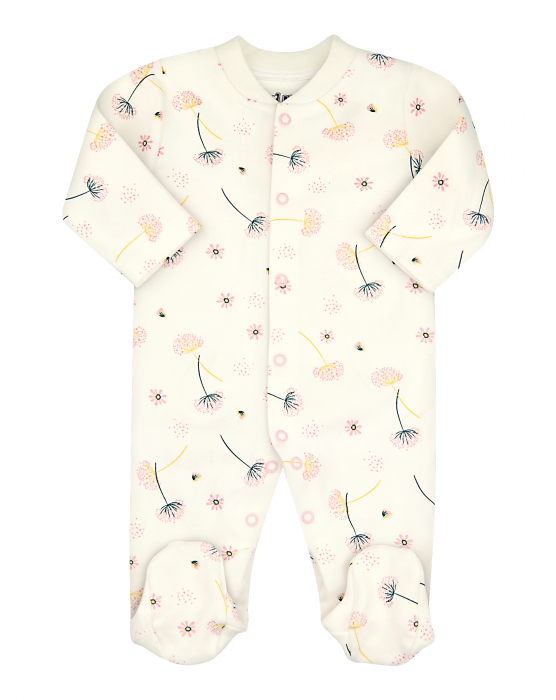 Pijama tip salopeta intreaga cu talpa, bumbac organic 100%, fete, Alb/Papadii [0]