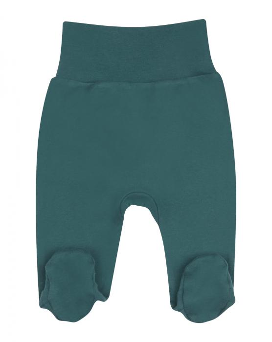 Pantalon tip pijama cu talpa, bumbac organic 100%, fete, Verde [0]