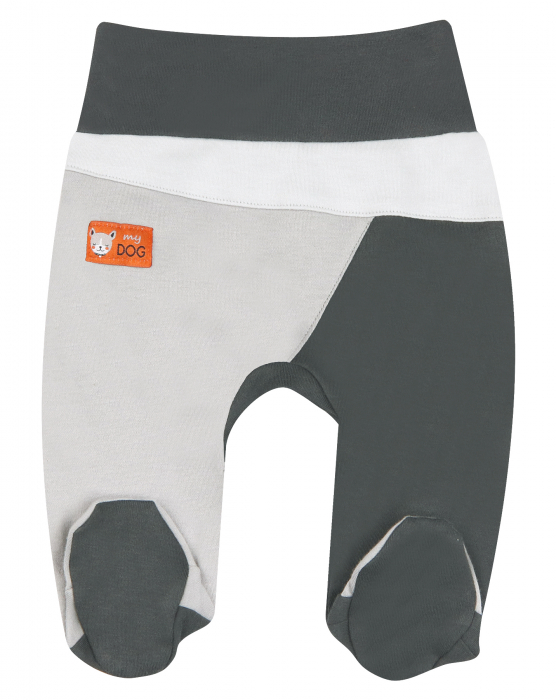 Pantalon cu talpa, bumbac organic 100%, baieti, Gri/Catel 0