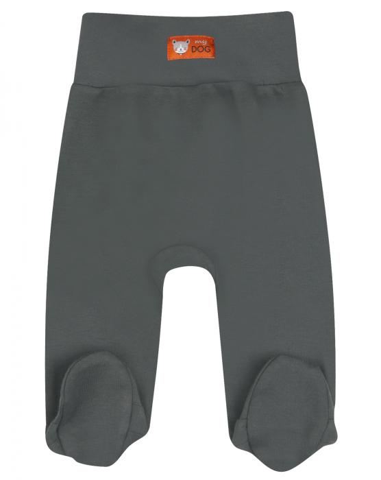 Pantalon cu talpa, bumbac organic 100%, baieti, Gri inchis/Catel 0