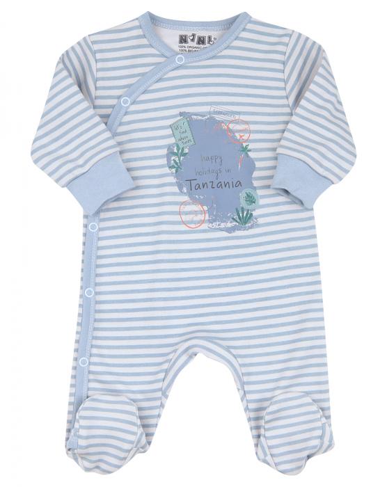 Pijama intreaga cu talpa, bumbac organic 100%, baieti, Albastru/Gri [0]