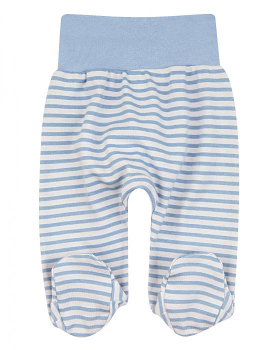 Pantalon lung cu talpa, bumbac organic 100%, baieti, Albastru/Gri [0]