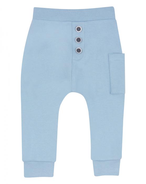 Pantalon lung, subtire, bumbac organic 100%, baieti, Albastru, Crab [0]