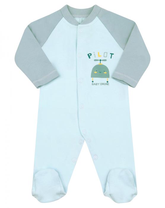 Pijama intreaga cu talpa, bumbac organic 100%, baieti, Albastru/Robot [0]