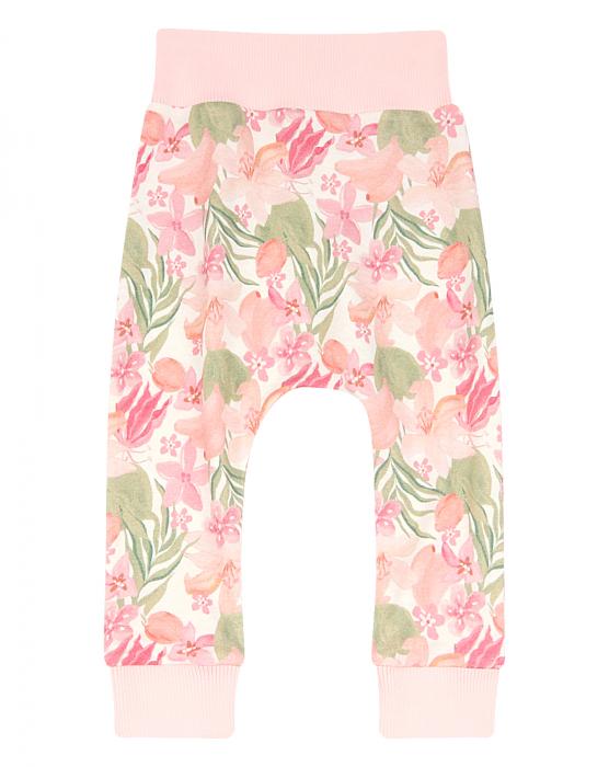 Pantalon lung, subtire, bumbac organic 100%, fete, Roz/Flori, Paradise [0]