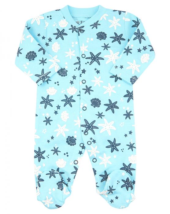 Pijama intreaga cu talpa, bumbac organic 100%, fete, Turcoaz/Fructe de mare [0]
