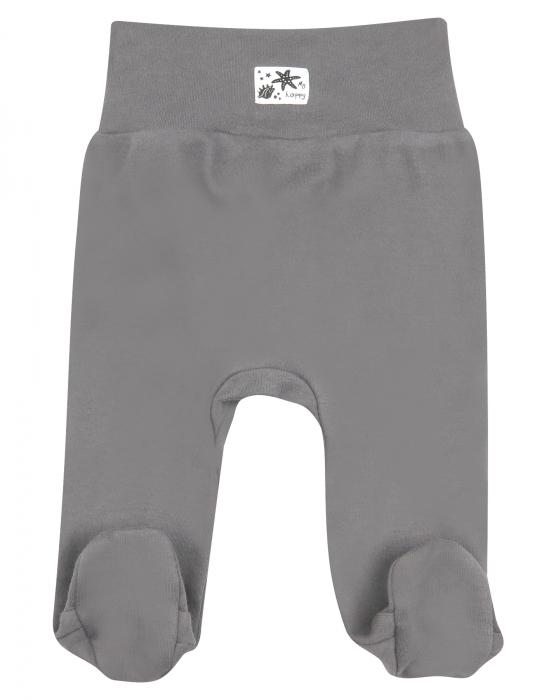 Pantalon cu talpa, bumbac organic 100%, fete, Gri/Fructe de mare [0]