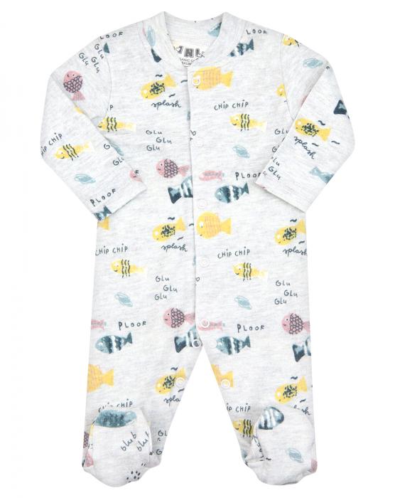 Pijama intreaga cu talpa, bumbac organic 100%, fete, Gri/Pesti [0]