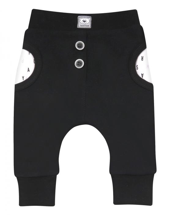 Pantalon lung cu buzunare, dublat, bumbac organic 100%, baieti, Negru [0]