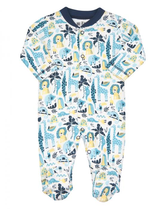 Pijama intreaga cu talpa, bumbac organic 100%, baieti, Alb/Animalute, Jungle Animals [0]