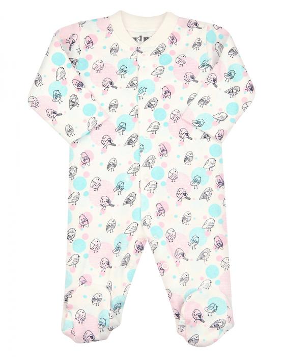 Pijama intreaga cu talpa, bumbac organic 100%, fete, Alb/Roz/Pasarele [0]