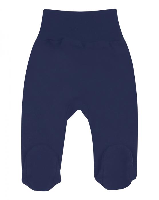 Pantalon cu talpa, bumbac organic 100%, fete, Bleumarin [0]