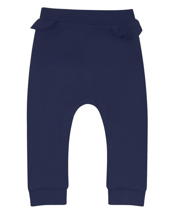 Pantalon lung, dublat, volanase, bumbac organic 100%, fete, bleumarin [0]