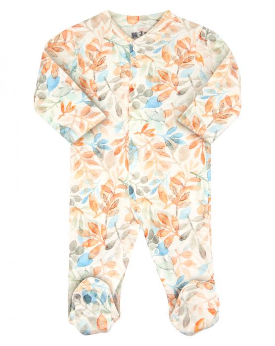 Pijama intreaga cu talpa, bumbac organic 100%, fete, Alb/Frunze [0]