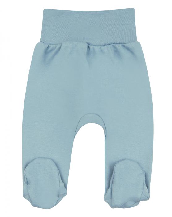 Pantalon cu talpa , bumbac organic 100%, fete, Albastru [0]
