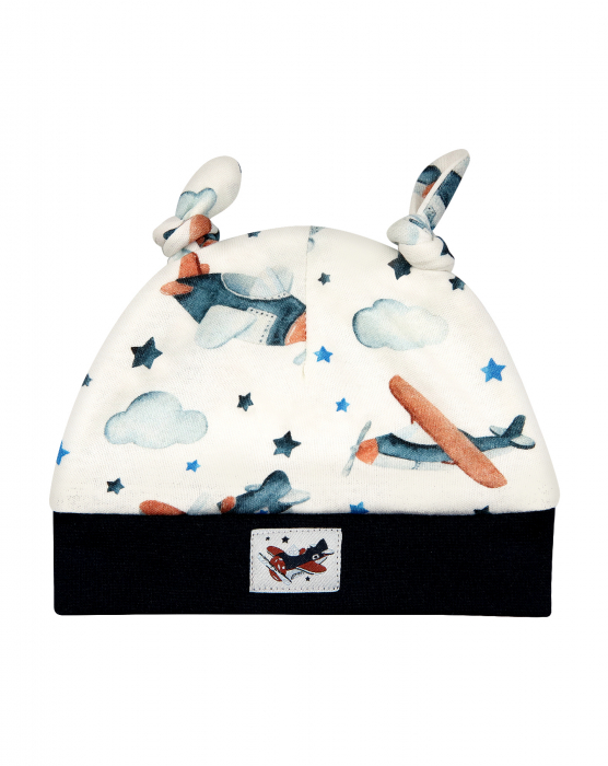 Caciula bebe cu urechi, bumbac organic 100%, Alb/Avioane [0]
