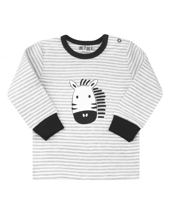 Bluza cu maneca lunga, bumbac 100%, Gri cu alb, Zebra 0