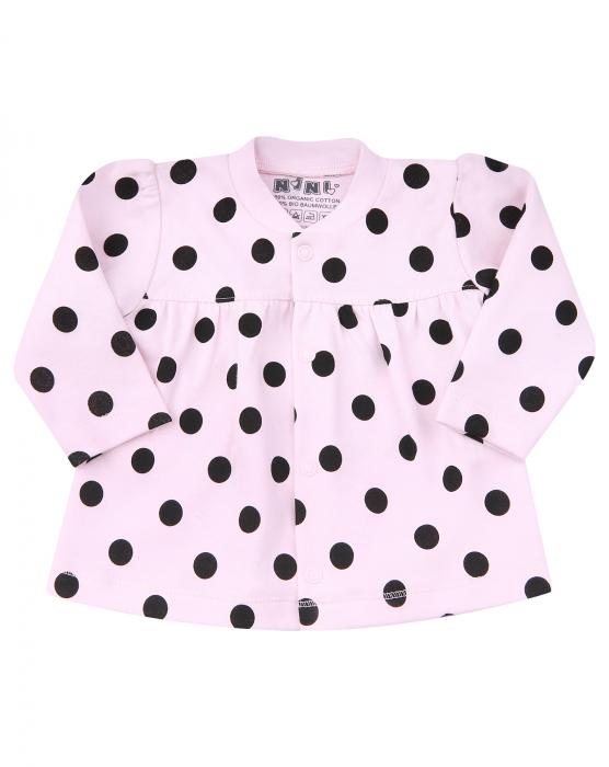 Bluza cu maneca lunga, capse, Roz cu buline negre 0