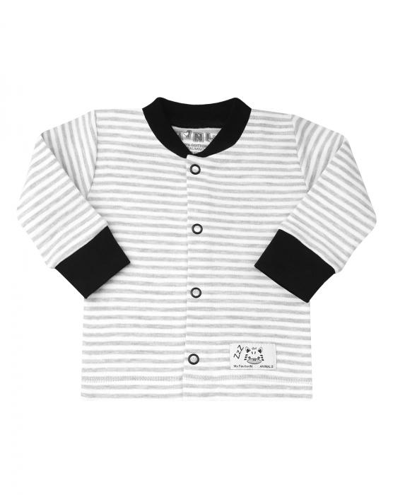 Bluza cu maneca lunga si capse in fata, bumbac 100% _Gri/Alb Zebra 0