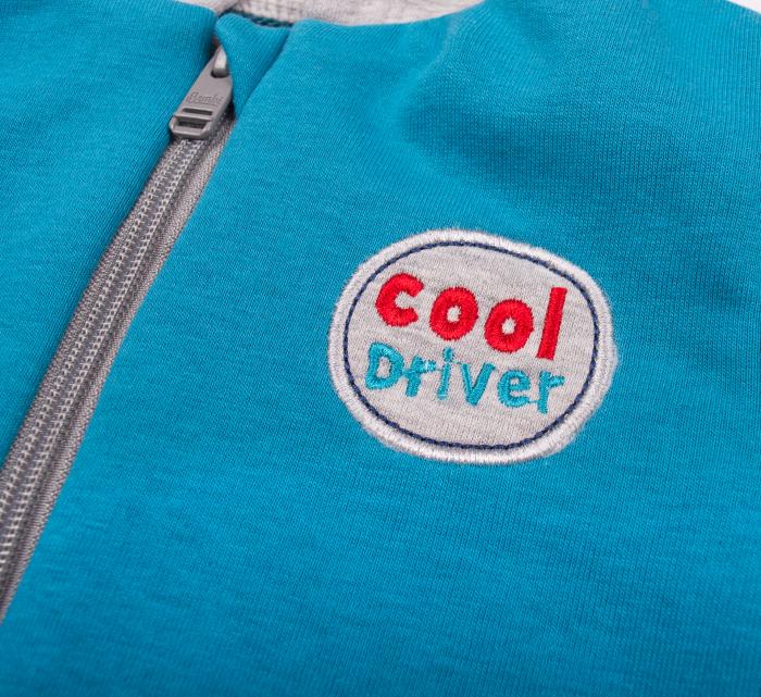 Bluza trening cu gluga si fermoar, baieti, Albastru/Gri, Cool Driver 2