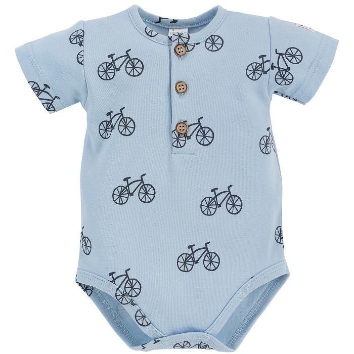 Body cu maneca scurta, bumbac 100%, baieti, Albastru/Biciclete, Summertime [0]