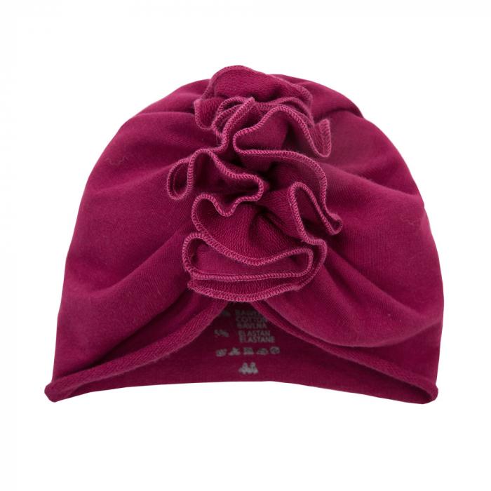 Caciula bebe tip turban, bumbac 100%, fete, Bordo, Simply Comfy [0]