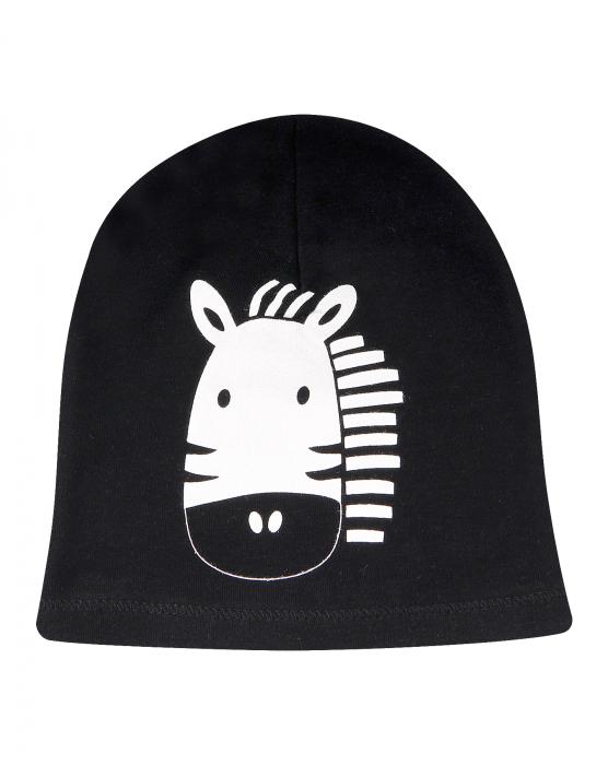 Caciula, bumbac 100%_Neagra cu Zebra 0