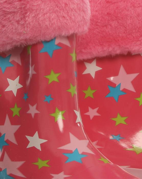 Cizme de cauciuc cu captuseala de blanita cu stelute si banda reflectorizanta roz 5