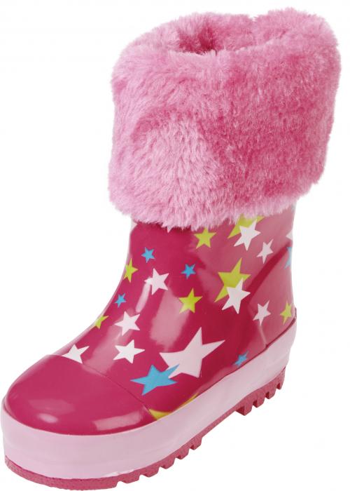 Cizme de cauciuc cu captuseala de blanita cu stelute si banda reflectorizanta roz