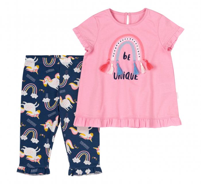 Compleu, tricou cu maneca scurta si pantalon leggings 3/4, bumbac 100%, fete, Roz,Bleumarin/Unicorni [1]