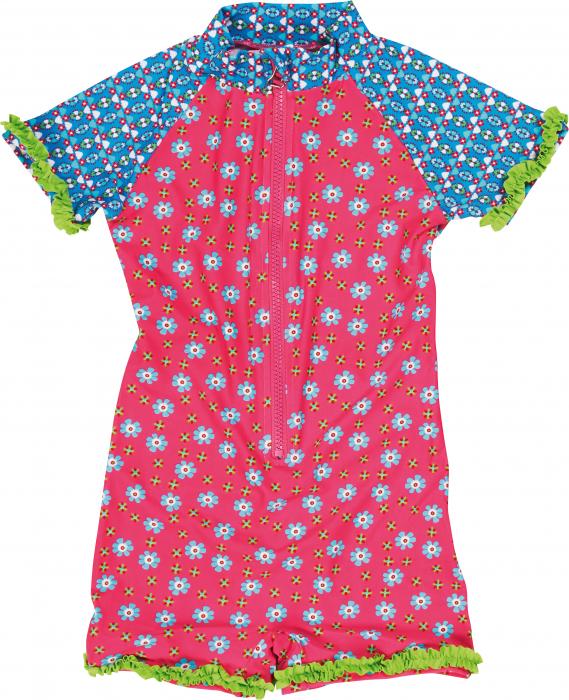 Costum baie tip salopeta intreaga, protectie UV50+, fete, Roz, Albastru/Flori [0]