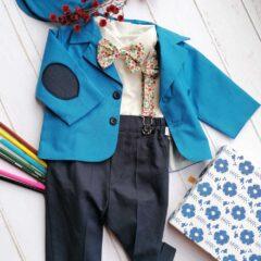 Costum de botez cu bretele si papion, Bumbac 100%, Albastru, Romeo 0
