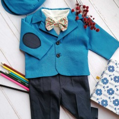 Costum de botez cu bretele si papion, Bumbac 100%, Albastru, Romeo 1