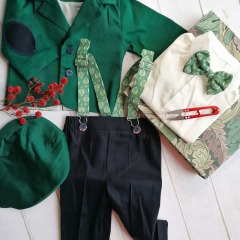 Costum de botez cu bretele si papion, Bumbac 100%, Verde/Bleumarin, Romeo 1