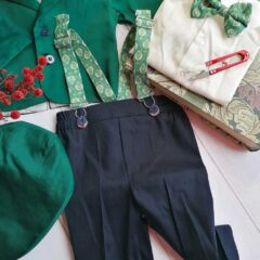 Costum de botez cu bretele si papion, Bumbac 100%, Verde/Bleumarin, Romeo 2