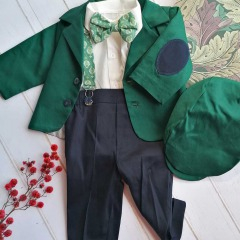 Costum de botez cu bretele si papion, Bumbac 100%, Verde/Bleumarin, Romeo [0]