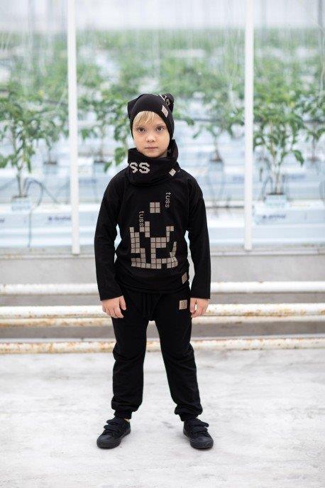 Bluza maneca lunga, Negru/Tetris 0