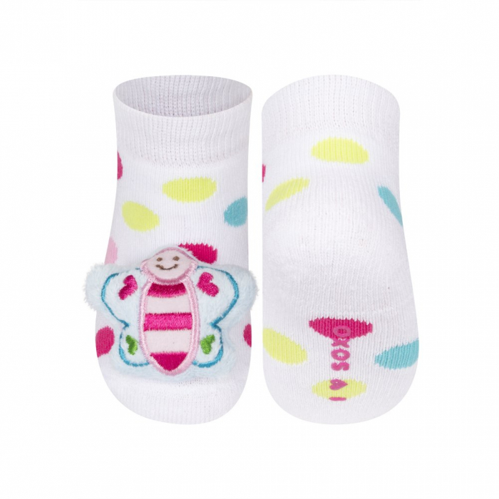 Sosete groase bebe, cu zgomot si aplicatie 3D, fete, Alb/Buline/Fluture [0]