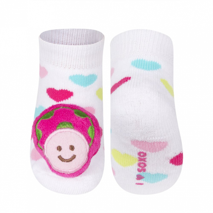 Sosete groase bebe, cu zgomot si aplicatie 3D, fete, Alb/Inimi/Buburuze [0]