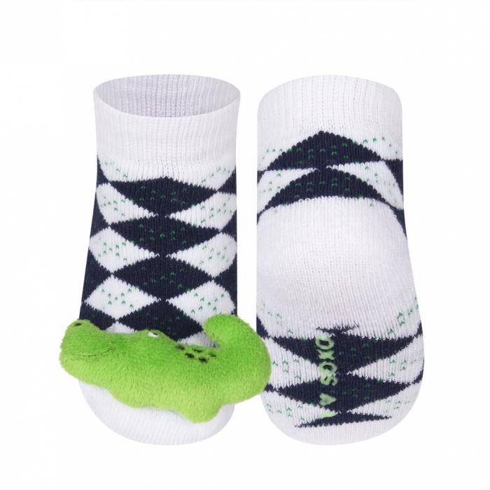 Sosete groase bebe, cu zgomot si aplicatie 3D, baieti, Alb/Crocodil [0]