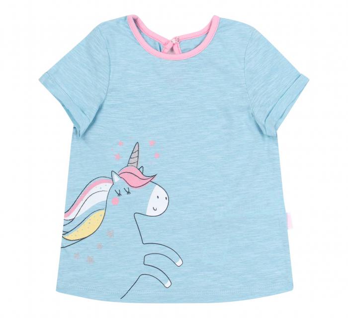 Tricou cu maneca scurta, bumbac 100%, fete, Albastru/Unicorn [0]