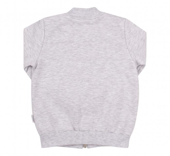 Bluza trening cu fermoar si buzunare, fete, Gri/Imprimeu colorat [3]