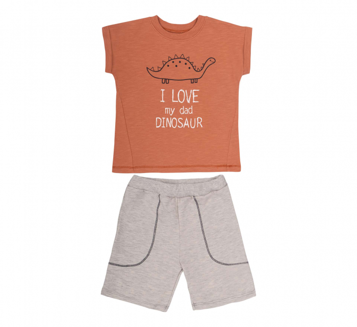 Compleu; tricou cu maneca scurta si pantalon scurt cu buzunare, bumbac 100%, baieti, Caramiziu/Gri [0]