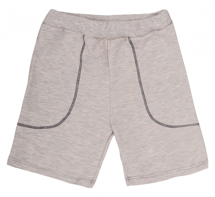 Compleu; tricou cu maneca scurta si pantalon scurt cu buzunare, bumbac 100%, baieti, Caramiziu/Gri [2]