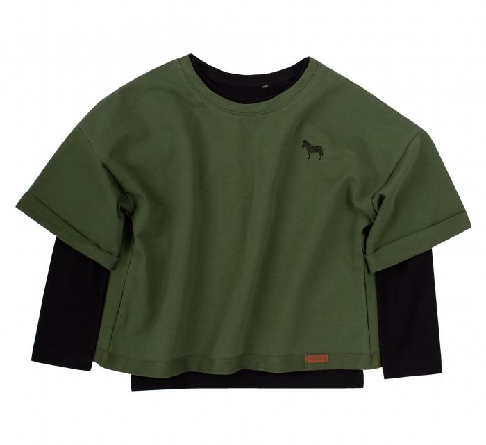 Set bluza maneca lunga+hanorac, Verde/Negru, unisex, Safary [0]